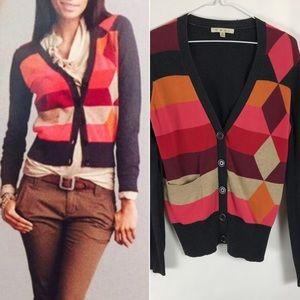 CAbi Soho Argyle Cardigan Sweater #171 Medium